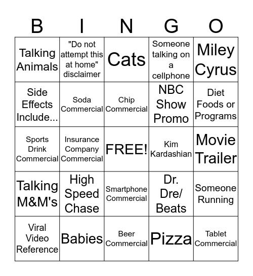 True North Super Bowl Commercial Contest Bingo Card