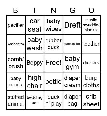 Baby Mya Bingo Card