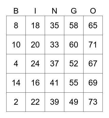 Positive Vibez Bingo Card