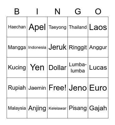 echan Bingo Card