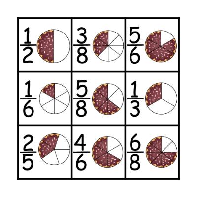 Pie Fractions Bingo Card