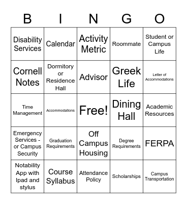 Senior Skills Bingo Card