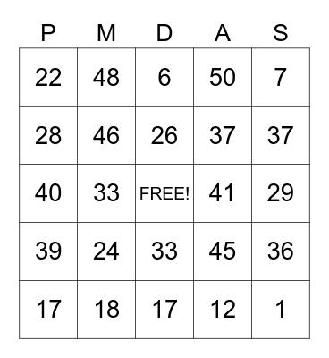 Order of Operations Bingo Card
