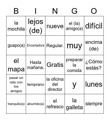Spanish I Review Bingo Card