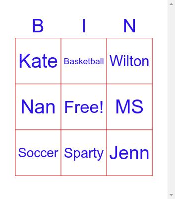 Steward School Bingo Card