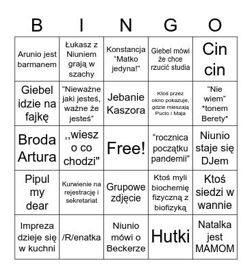 Karo Bingo Card