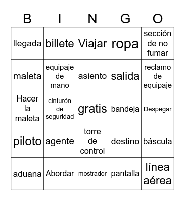 Travel Vocab Bingo Card