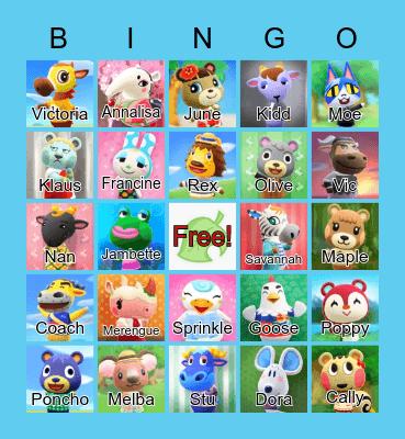 Animal Crossing Bingo Card