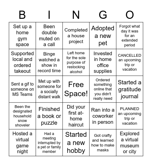 RPE BINGO - QUARANTINE EDITION Bingo Card