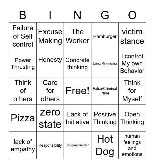 Thinking Errors Bingo Card