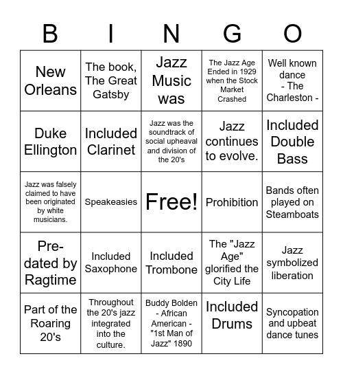 The Jazz Age Bingo Card
