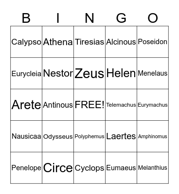 The Odyssey  Bingo Card