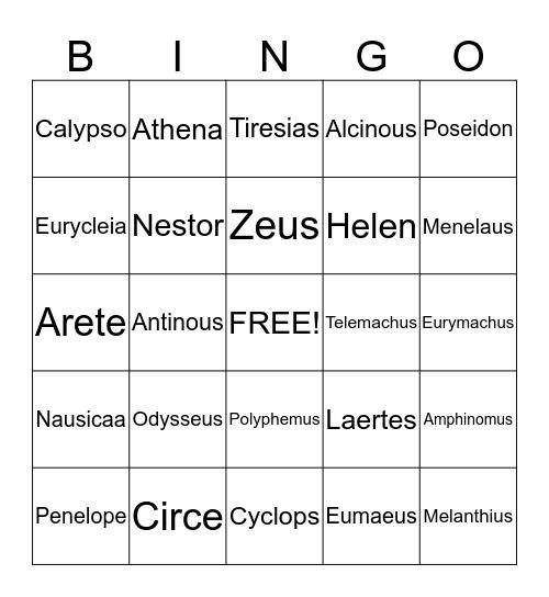 The Odyssey  Bingo Card