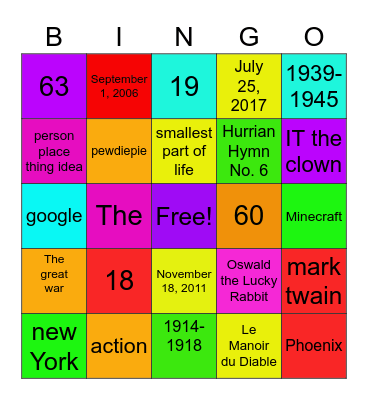 random bingo Card