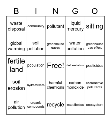 Environmental Club Bingo Card