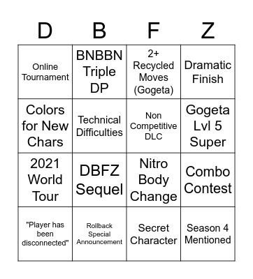 Dragon Ball Battle Hour Bingo Card