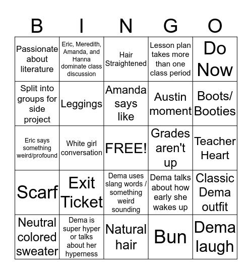 Stat Project Bingo Card