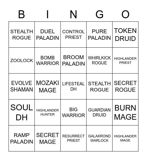 Madness at the Darkmoon Faire decks Bingo Card