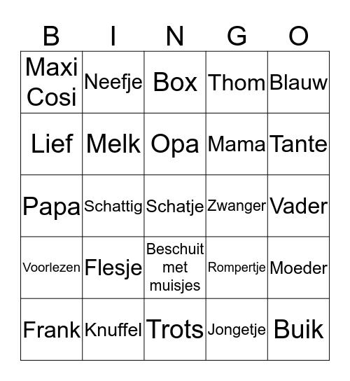 Marieke`s Baby Shower Bingo Card