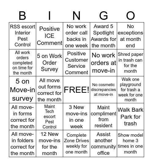 B owdenTerrace Bingo Card