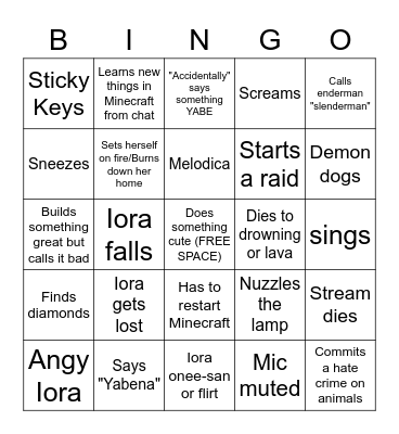 Iora Minecraft Stream Bingo Card