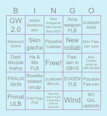 Grubble's 7th Birthday Bingo Card