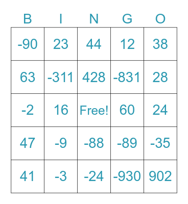 Integer Bingo Card