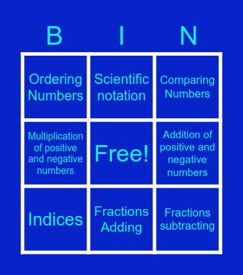 BIN MATH GO Bingo Card