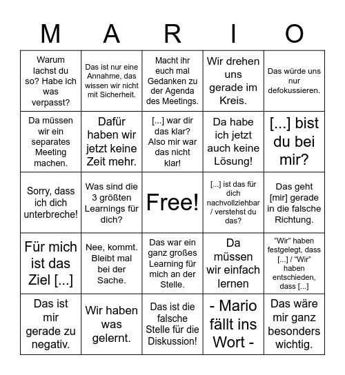 Mario Meeting Bingo Card
