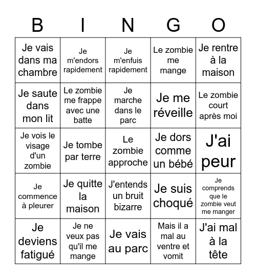 Jour Seize Bingo Card