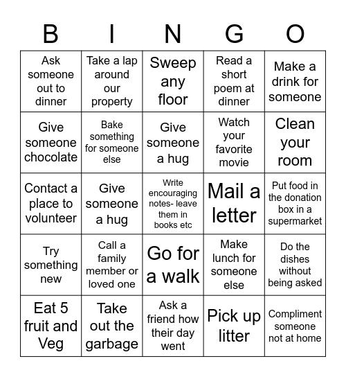 Good Deed Bingo Card