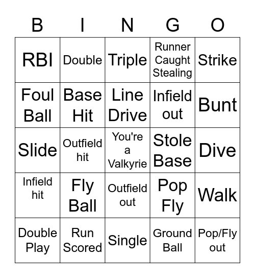 Softball Practice Bingo Card