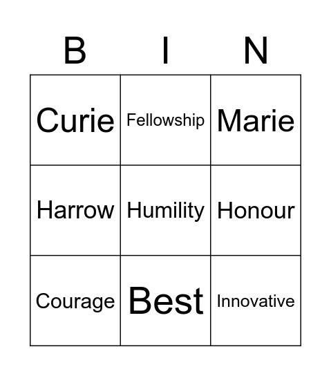 Marie Curie Bingo Card