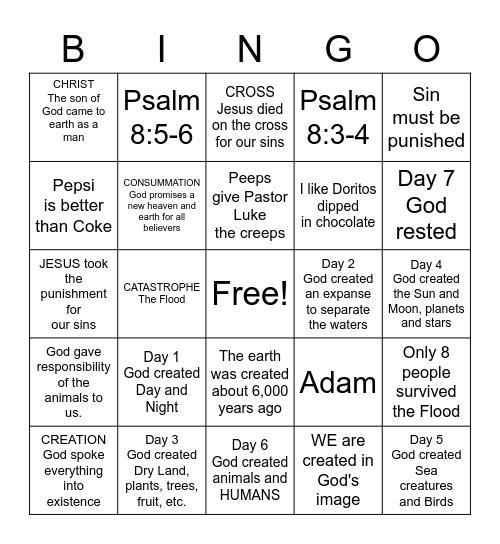 God is Creator- Unit  2 Bingo Card