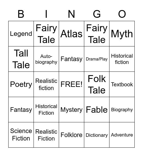 Genre Bingo Card