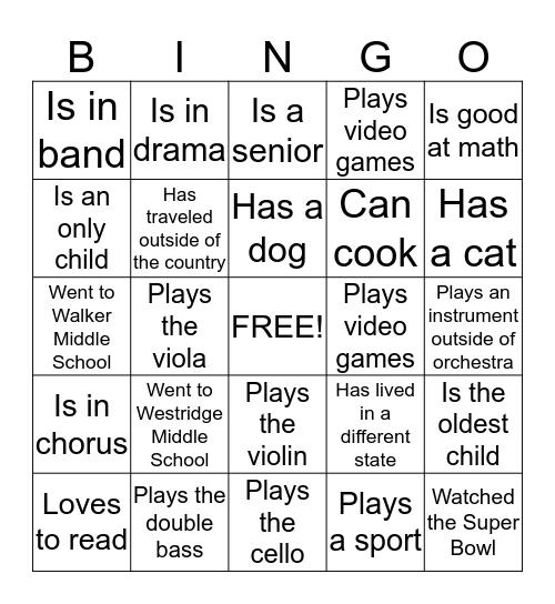 Find someone in Orchestra who... Bingo Card