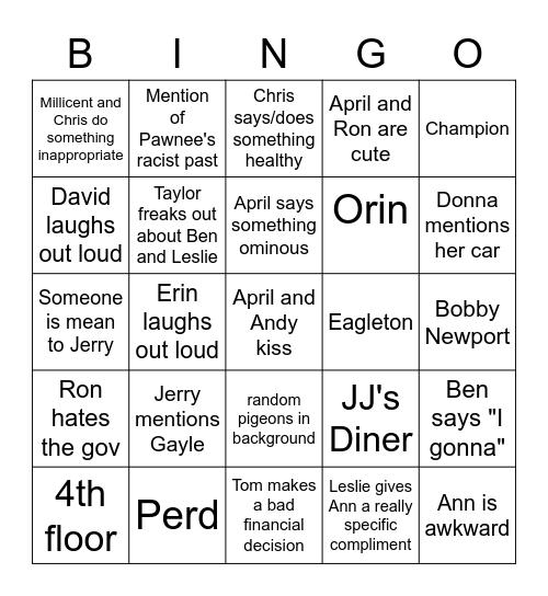 Parks and Rec Bingo Card