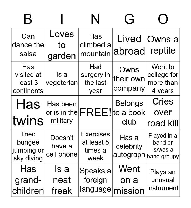 Enterprise YW 2015 Reunion Bingo Card
