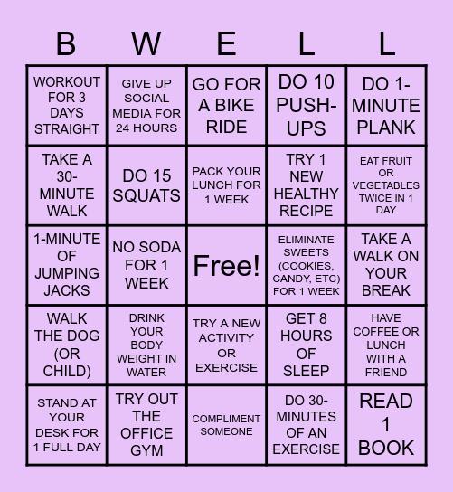 LET'S GET HEALTHY! Bingo Card