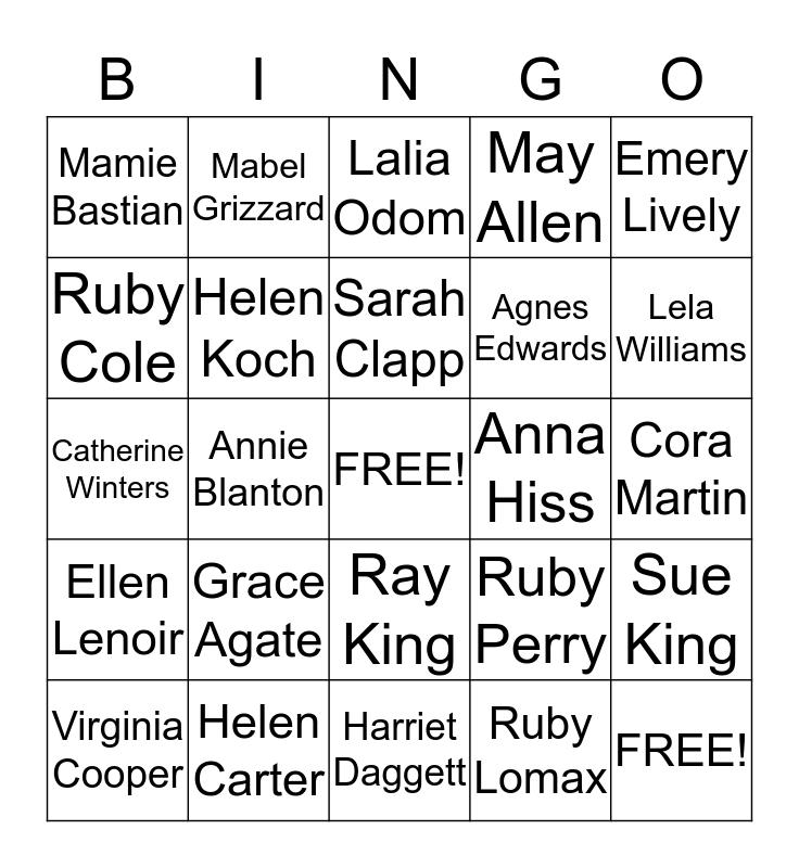 Founder's Day Bingo Card