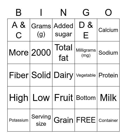 Nutrition Facts Bingo Card