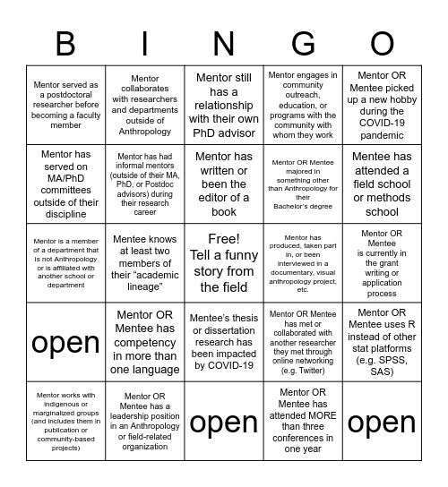 HBA Bingo Card