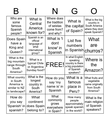Spanish speaking world - get to know it! - find the answer Bingo Card