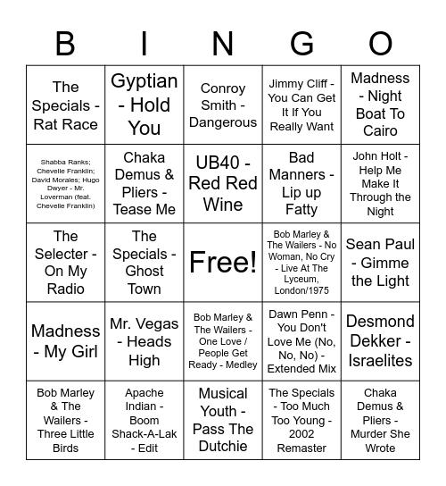Reggae/Dancehall/Ska Bingo Card