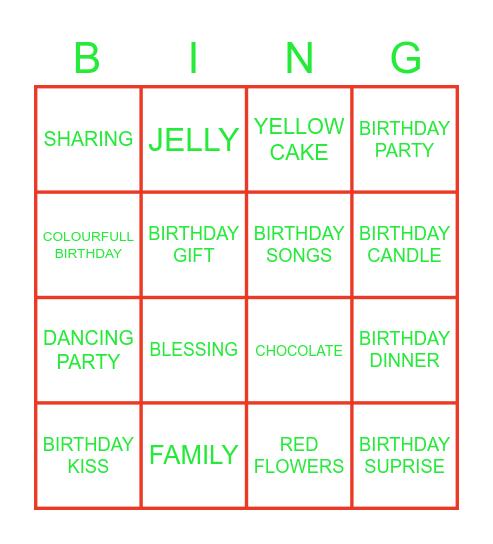BIRTHDAY APRTY Bingo Card