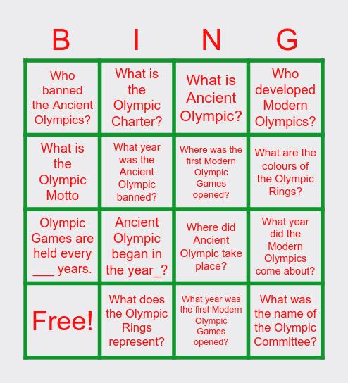 Olmpics Bingo Card