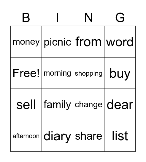* and ** Bingo Card