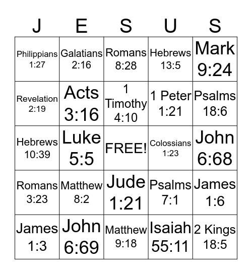 FAITH Bingo Card