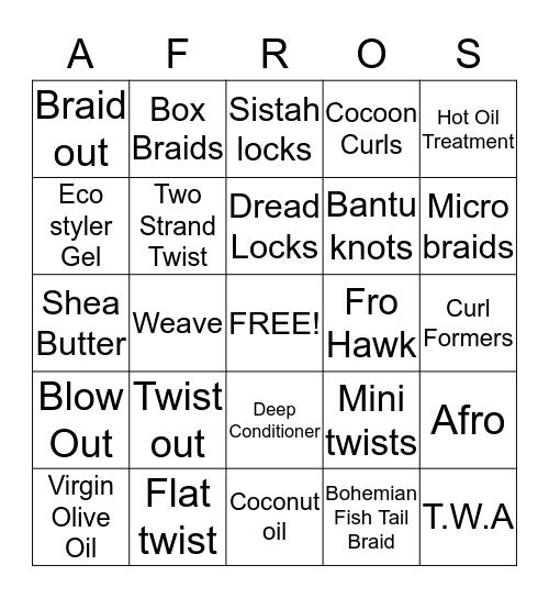 ~The Bingo for Natural Sistahs~ Bingo Card