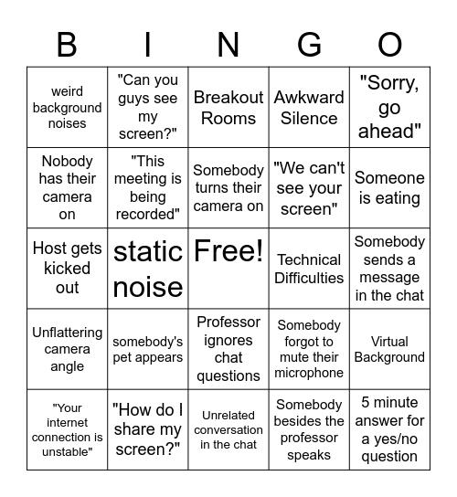 Virtual Class Bingo Card